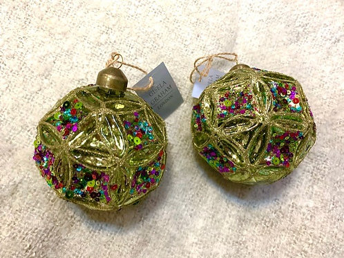 Gisela Graham Gold Glass with Sequin Detail Art Deco Bauble