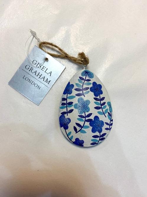 Gisela Graham Blue White Flower Egg Easter Hanger