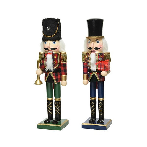 Wooden Painted Tartan Nutcracker Soldier with Present