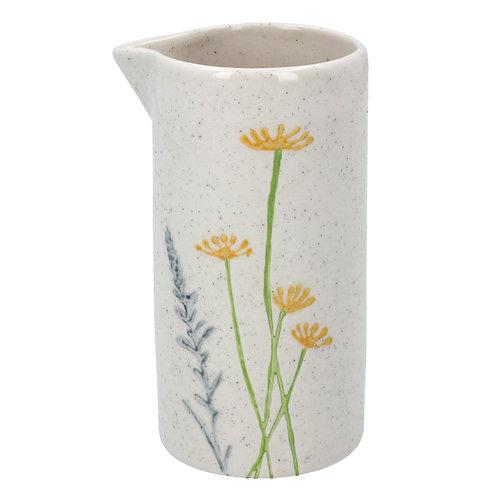 Gisela Graham Ceramic Artisan Jug - Yellow Daisy/Lavender 11cm
