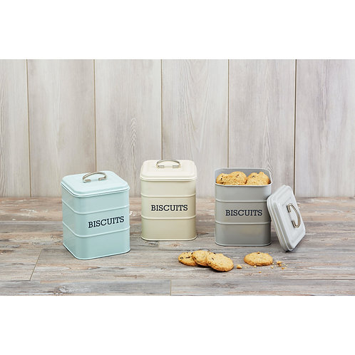 Living Nostalgia Airtight Metal Biscuit Tin -Vintage Blue
