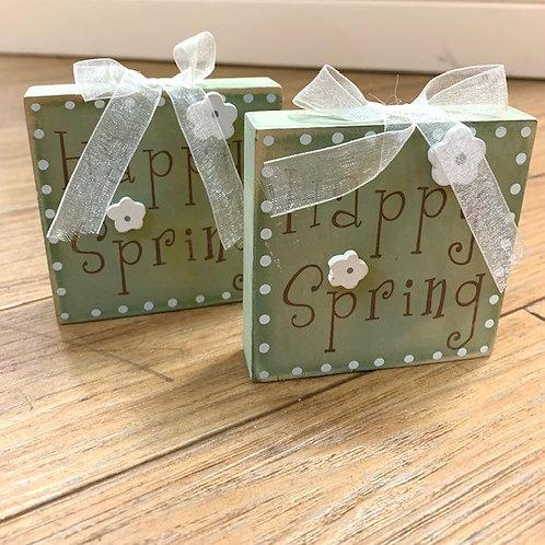 "Langs Wooden Block Easter Sign ""Happy Spring"" 9cm"