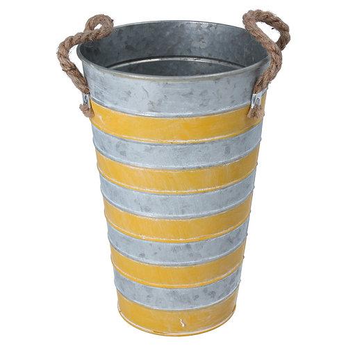 Gisela Graham Tin Flower Pot with Yellow Stripes