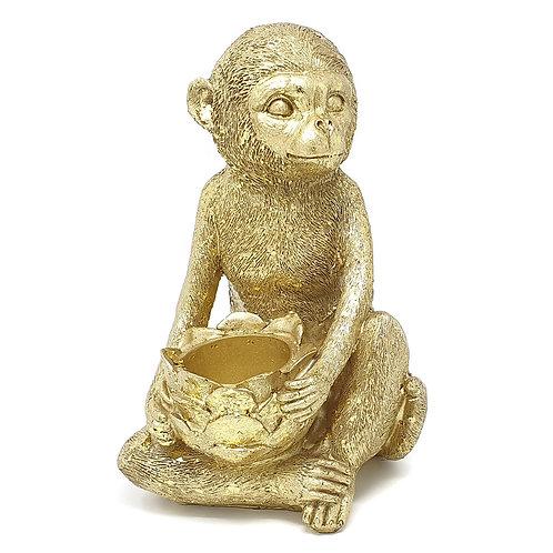 Gisela Graham Gold Resin Monkey Tealight Holder