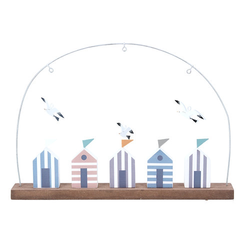 Gisela Graham Beach Huts and Seagulls Wooden Decoration