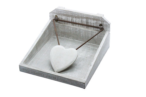Gisela Graham Distressed Wood Napkin Holder with Heart