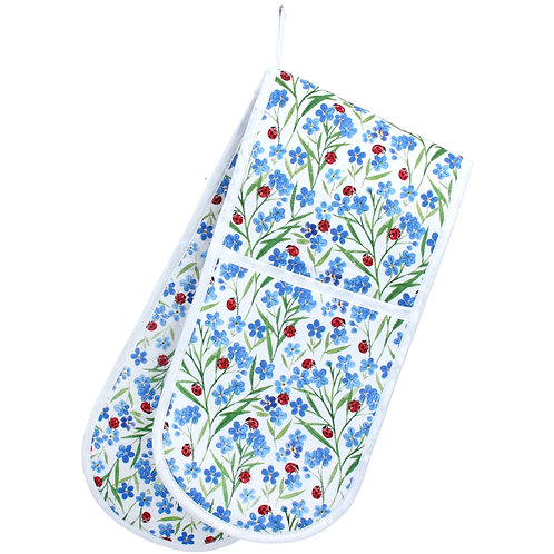 Gisela Graham Forget-Me-Not Double Oven Glove