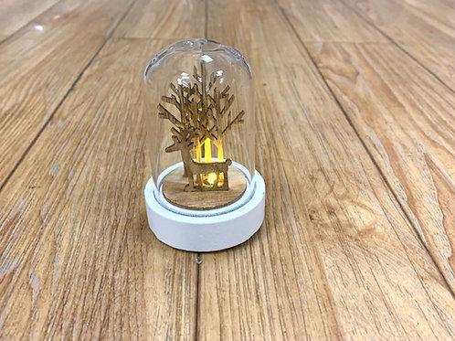 Nordic Hygge Mini LED Lit Reindeer in Glass Cloche