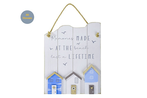 Wooden Beach Hut Hanging Plaque - Memories Made at the Beach Last a Lifetime