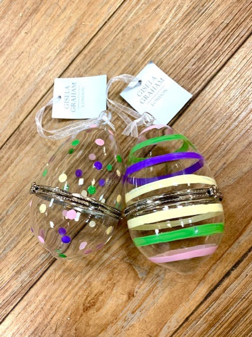 Gisela Graham Glass Easter Egg Gift Presentation Box - Stripes