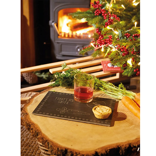 Treats for Santa Slate Tray and Glass with Gift Box