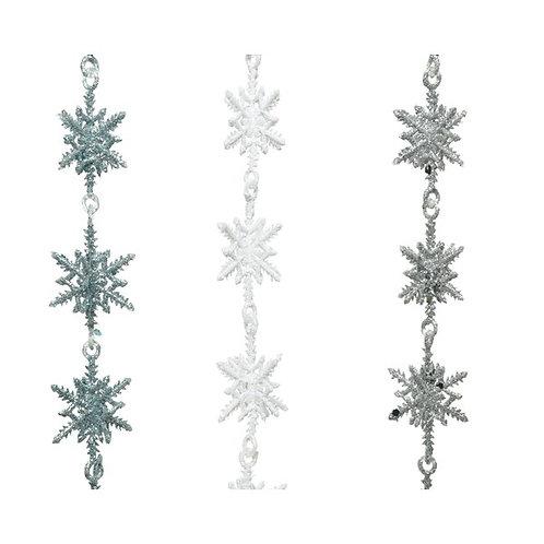 Glitter Finish Snowflake Garland - Silver
