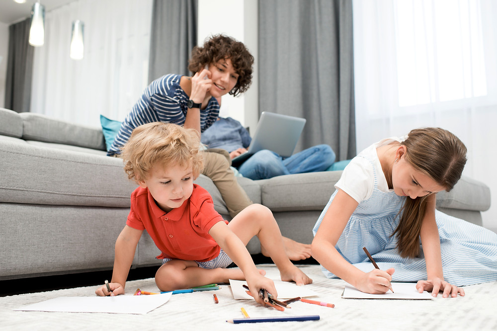 Kids playing on the carpet