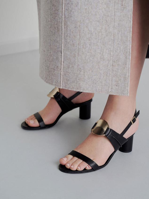 Metallic accent heeled sandals