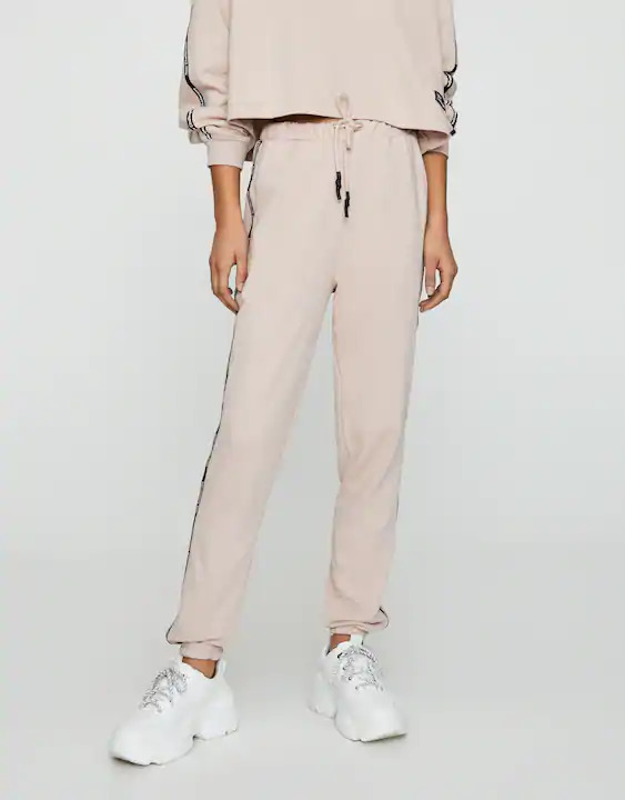 Joggers with contrast side stripes