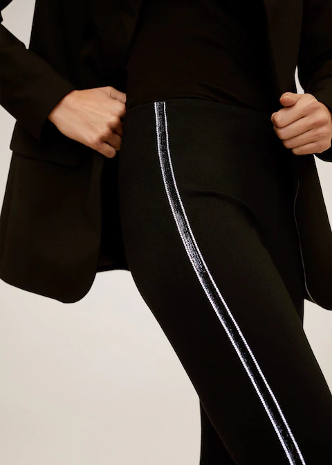 Mango black trousers with stripes
