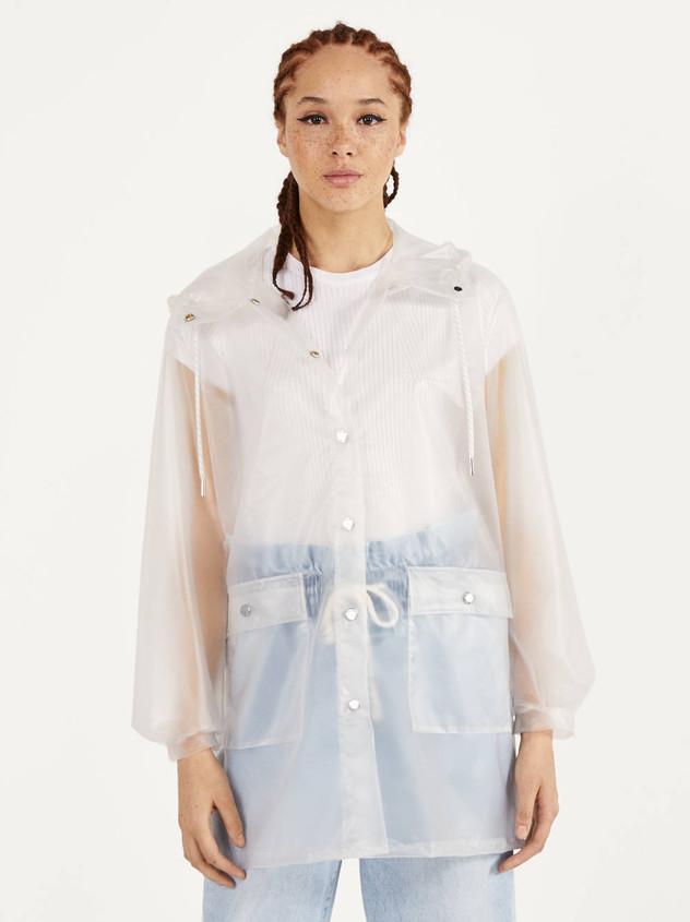 Bershka white raincoat