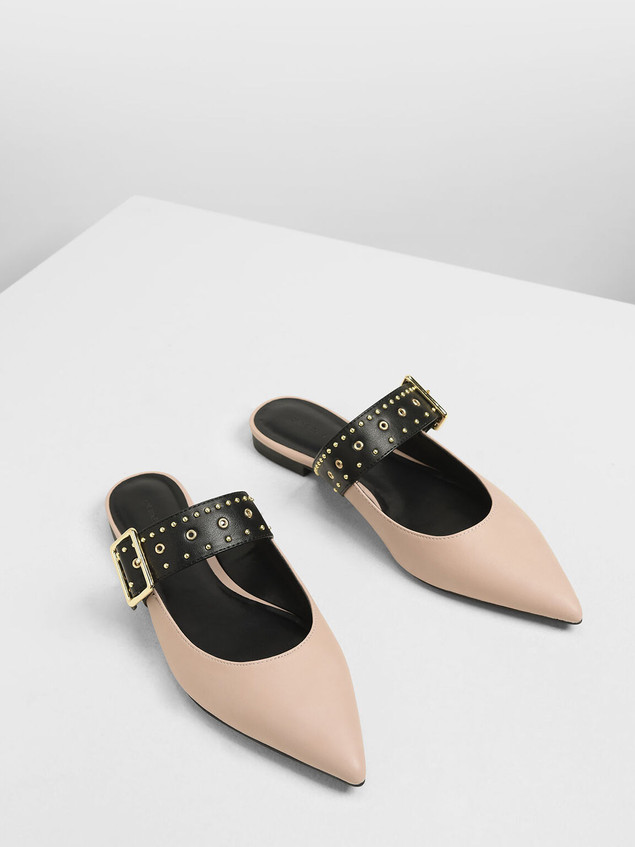 Studded buckle mules