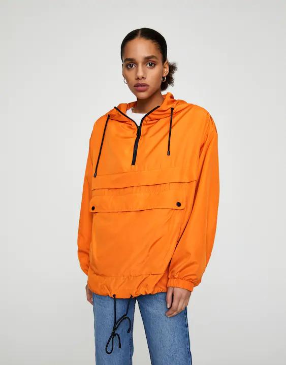 Pull & Bear orange raincoat