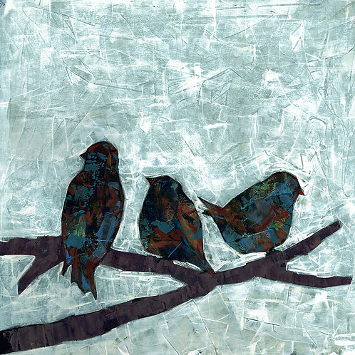 BLUE BIRDS- a figure print of an original painting