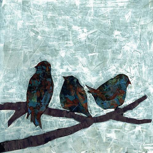 BLUE BIRDS- a figure print of an original painting