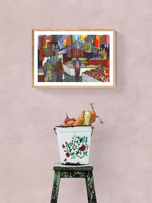 MARKET PLACE-- an abstract print of an original painting