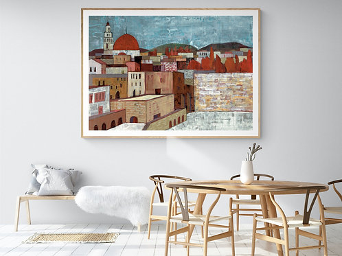 ABSTRACT JERUSALEM- a print of an original painting