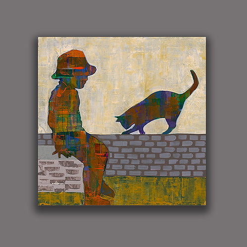 A CHILD WITH A CAT- a figure print of an original painting
