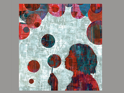 SQUAR BUBBLES- a figure print of an original painting