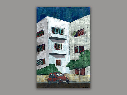 BAUHAUS- a print of a hand made acrylic painting