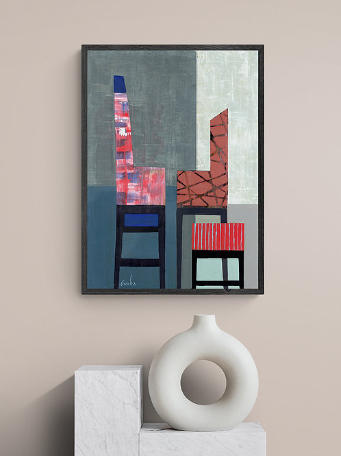 CHAIRS IN RED- an abstract print of an original painting