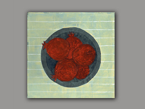 POMEGRANTES ON A PLATE- an abstract print of an original painting