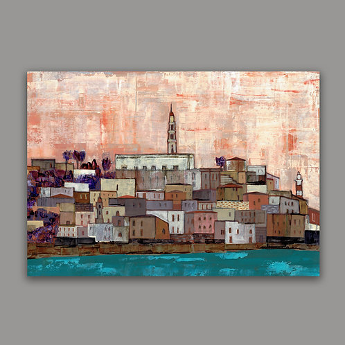 SUNSET ON JAFFA HARBOR- a print of an original painting