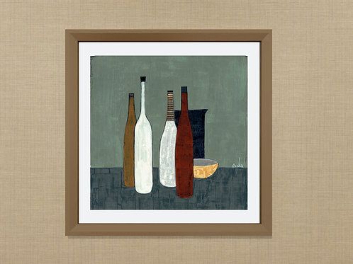 NATIVE BOTTLES- an abstract print of an original painting