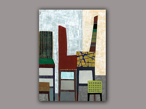 GEOMETRIC CHAIRS- an abstract print of an original painting