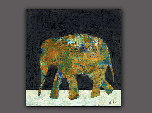 YELLOW ELEPHANT- a figure print of an original painting