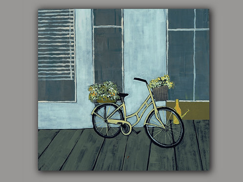 BICYCLE IN THE STREET  -  print of an original painting