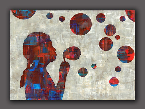 BUBBLE GIRL- a print of an original painting