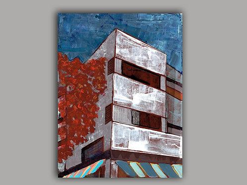 TEL AVIV CORNER- a print of a hand made acrylic painting
