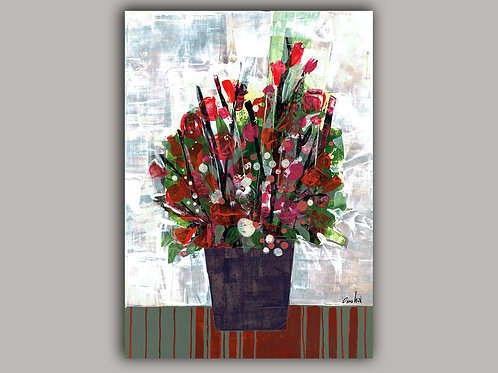 RED FLOWERS- an abstract print of an original painting