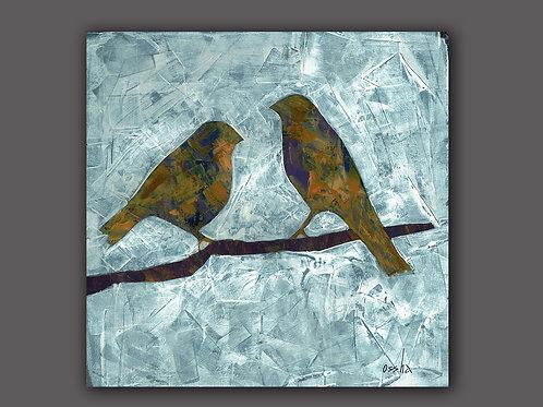 YELLOW BIRDS-  print of an original painting