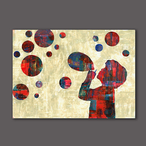 CHILD WITH BUBBLES- a print of an original painting