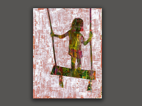A GIRL SWINGS- an abstract print of an original painting