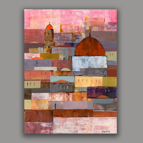 JERUSALEM SUNSET- a print of an original painting