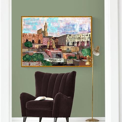 JERUSALEM  WALLS- a print of an original painting
