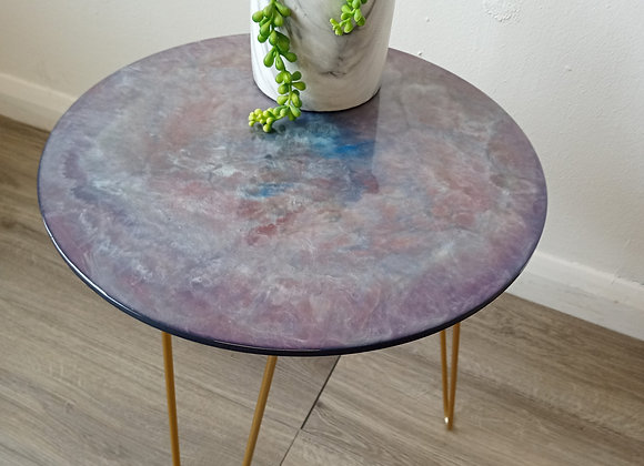 'A Purple Nebula' Side Table with Hairpin Legs