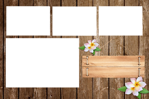 wooden banner and flowers