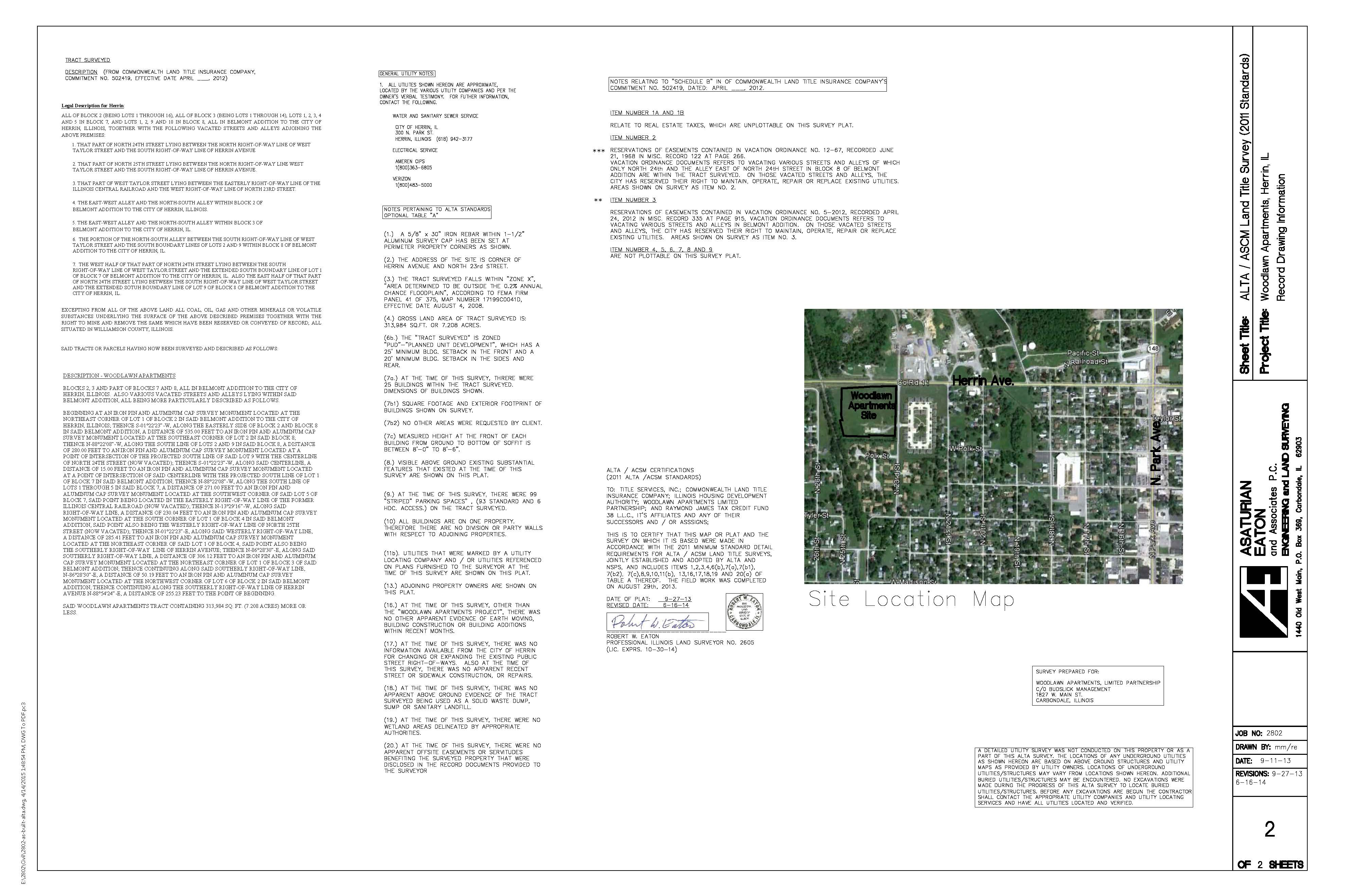 record drawing ALTA Survey 2