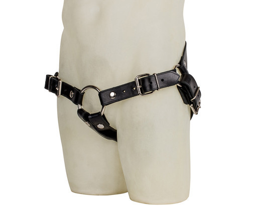 a black leather harness for a dildo