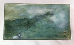 sheep in a moorland autumn mist